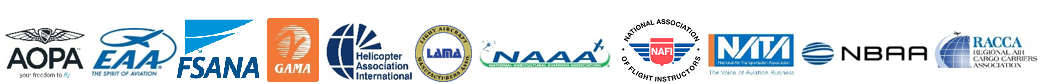 These are logos of associations that endorse the General Aviation and Part 135 Activity Survey are as following from left to right: 